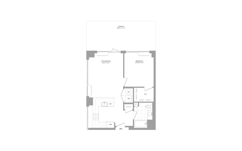 A11 1 Bed 1 Bath Floorplan