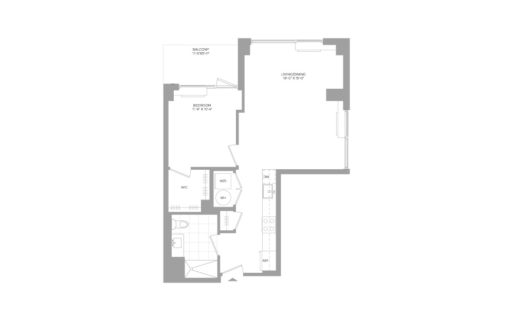 A13 1 Bed 1 Bath Floorplan