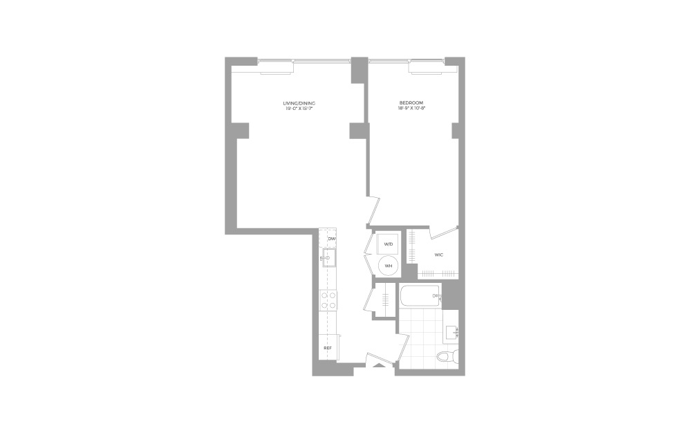 A16 1 Bed 1 Bath Floorplan