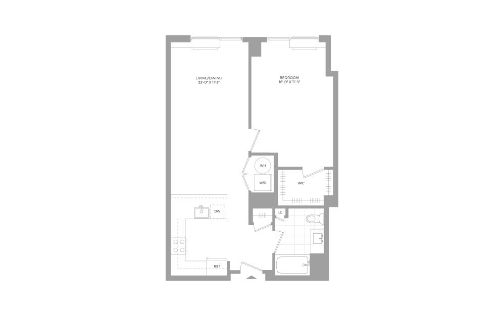 A17 1 Bed 1 Bath Floorplan