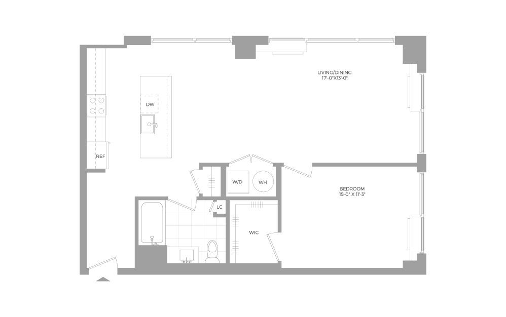 A18 1 Bed 1 Bath Floorplan