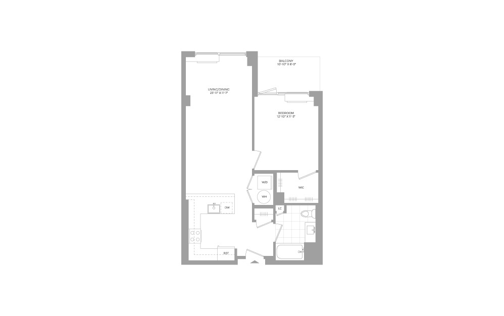 A2.2 1 Bed 1 Bath Floorplan