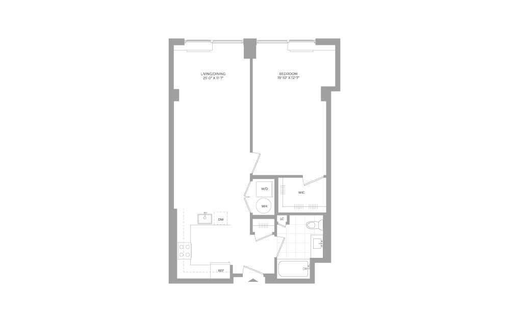 A3.2 1 Bed 1 Bath Floorplan