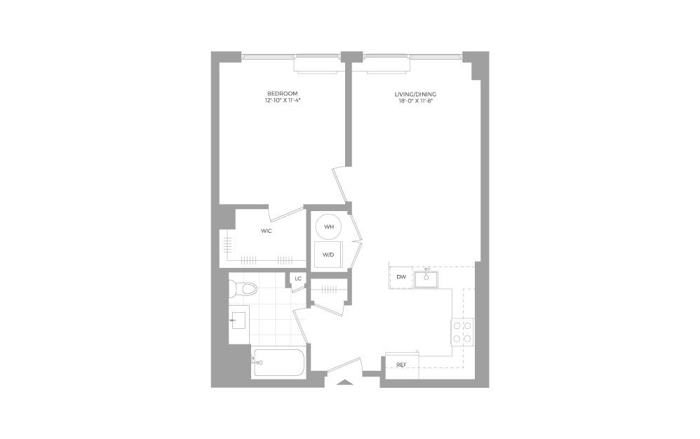A8 1 Bed 1 Bath Floorplan
