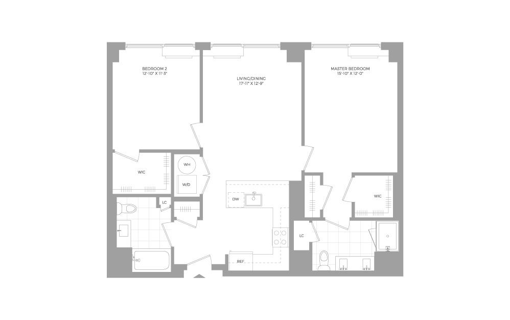 B3.2 2 Bed 2 Bath Floorplan