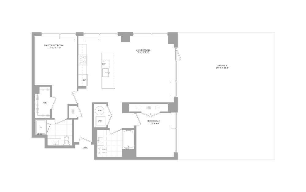 B8.1 2 Bed 2 Bath Floorplan