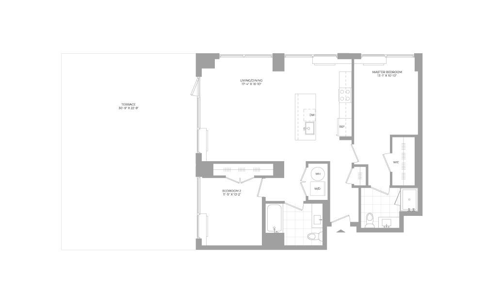 B8.2 2 Bed 2 Bath Floorplan