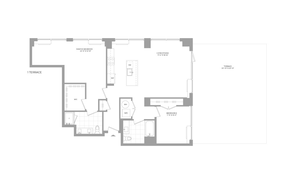 B8.3 2 Bed 2 Bath Floorplan