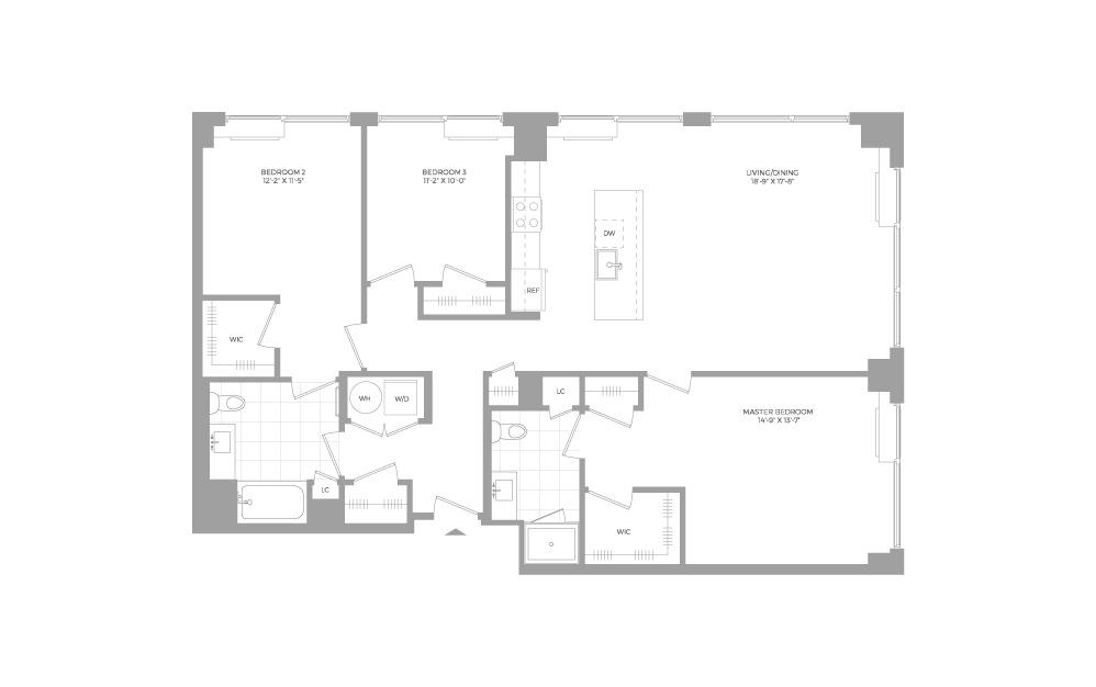 C2 3 Bed 2 Bath Floorplan