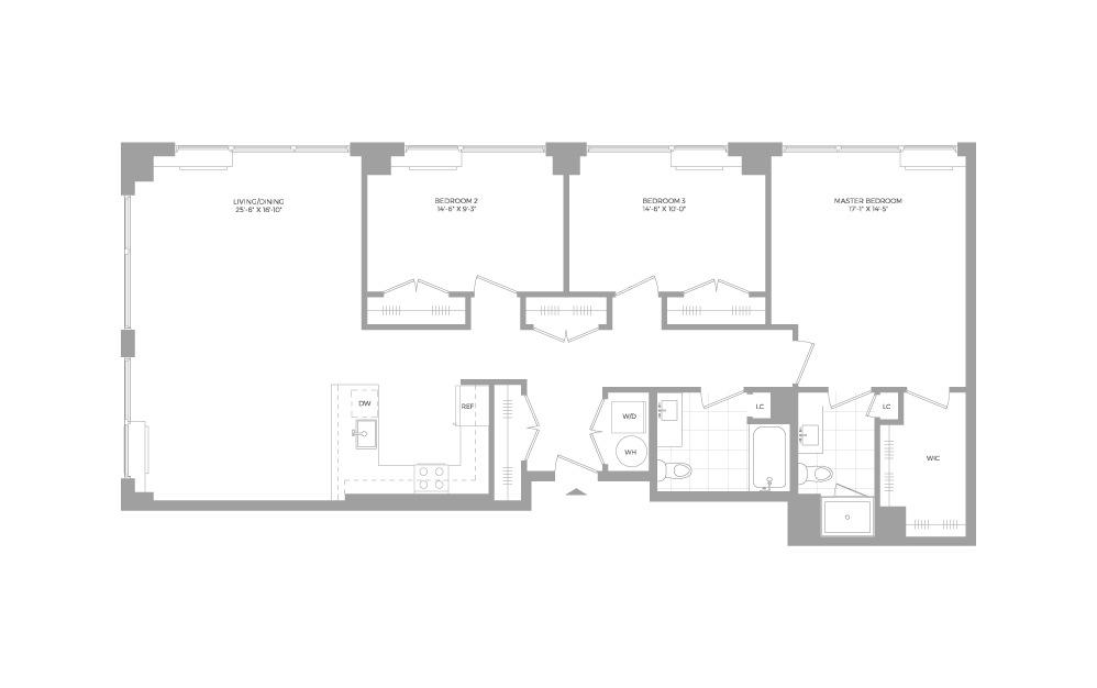 C4 3 Bed 2 Bath Floorplan
