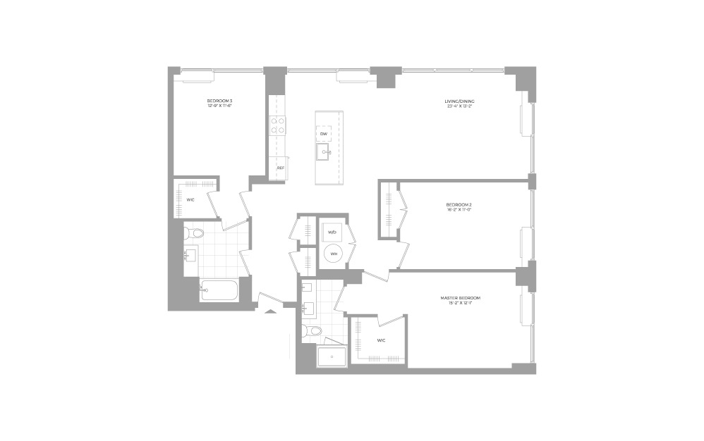 C6 3 Bed 2 Bath Floorplan