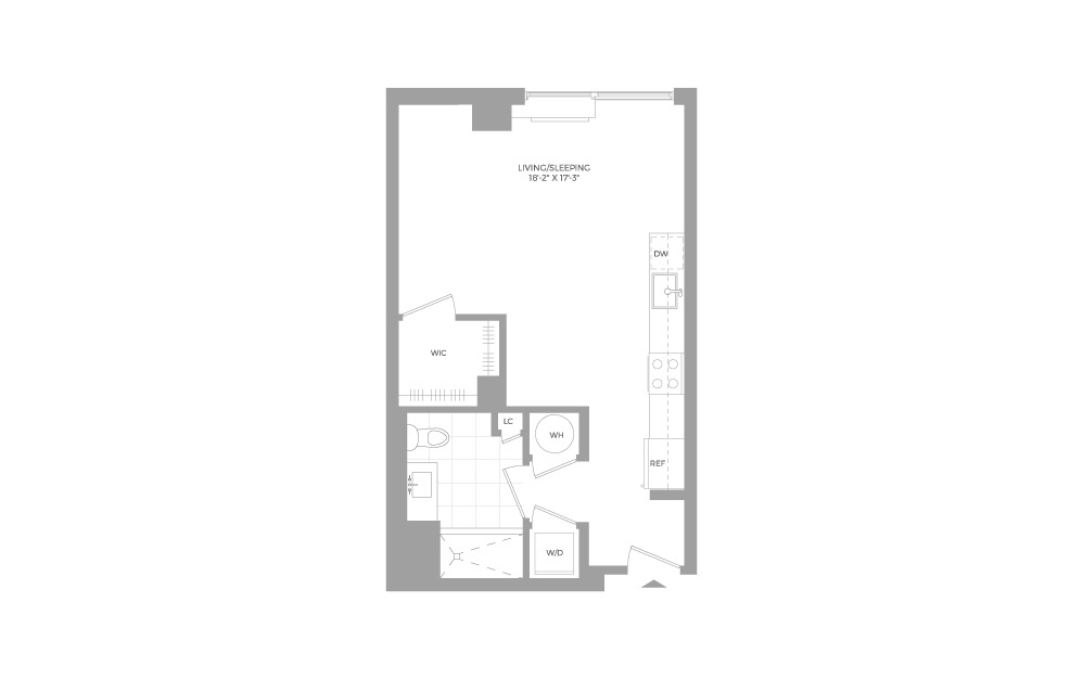 S2 Studio 1 Bath Floorplan