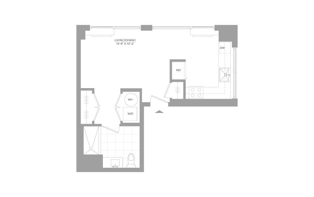 S6 Studio 1 Bath Floorplan