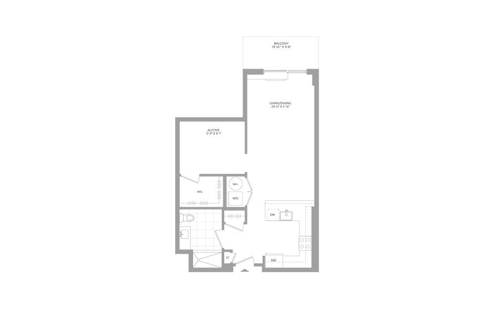 S7 Studio 1 Bath Floorplan