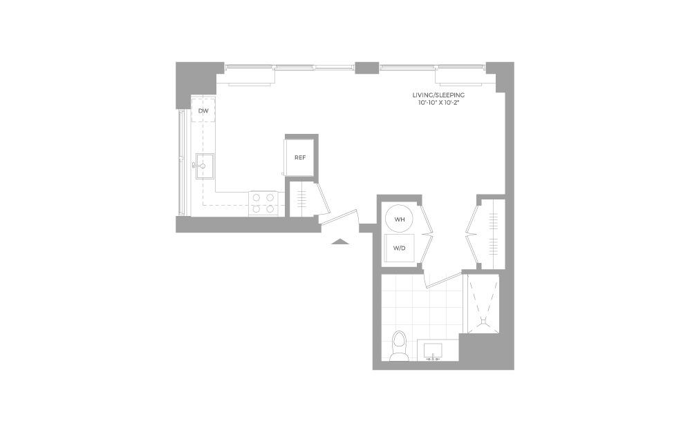 S9 Studio 1 Bath Floorplan